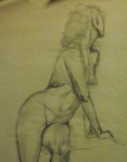 from life drawing class - charcoal on newsprint